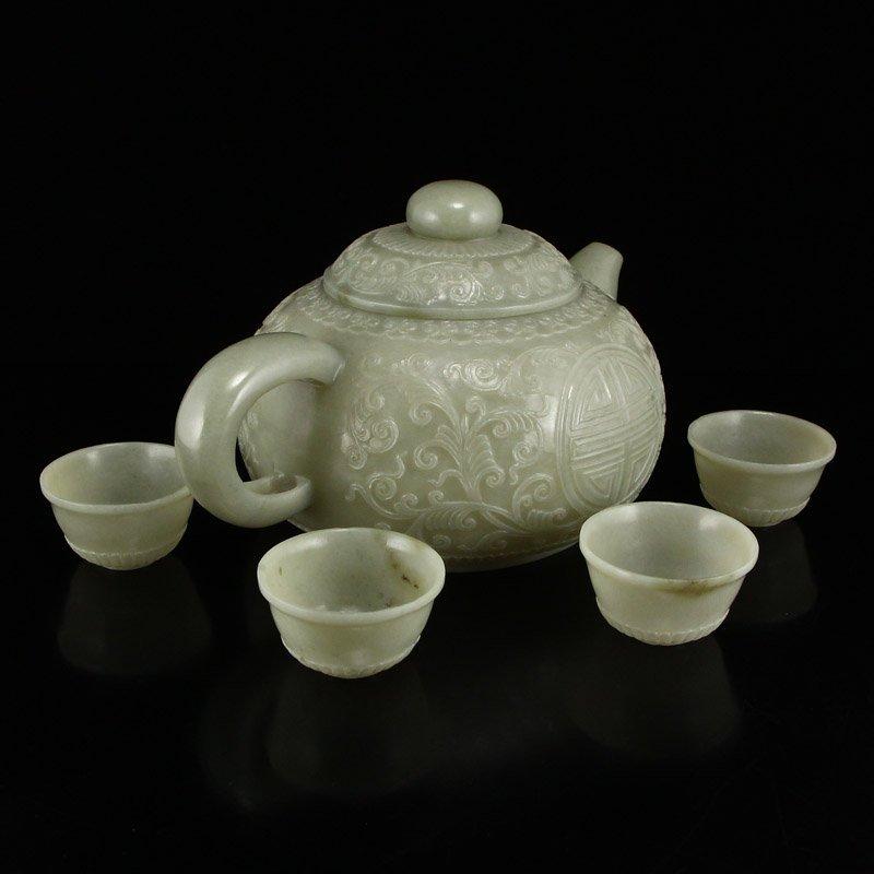 Set Superb Chinese Hetian Jade Low Relief Teapot & Cups - 3