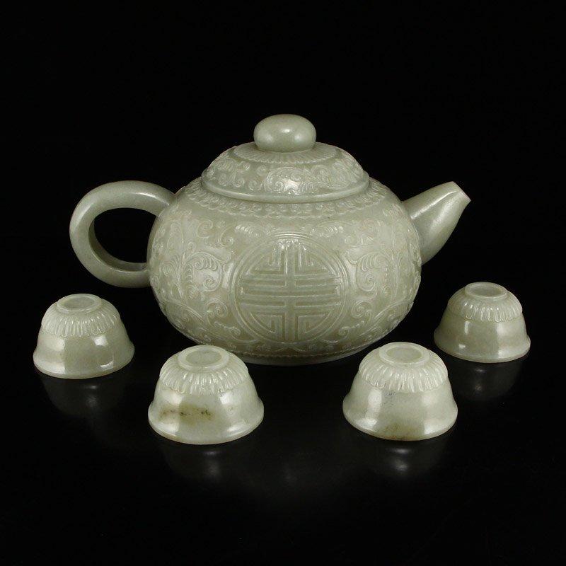 Set Superb Chinese Hetian Jade Low Relief Teapot & Cups - 4