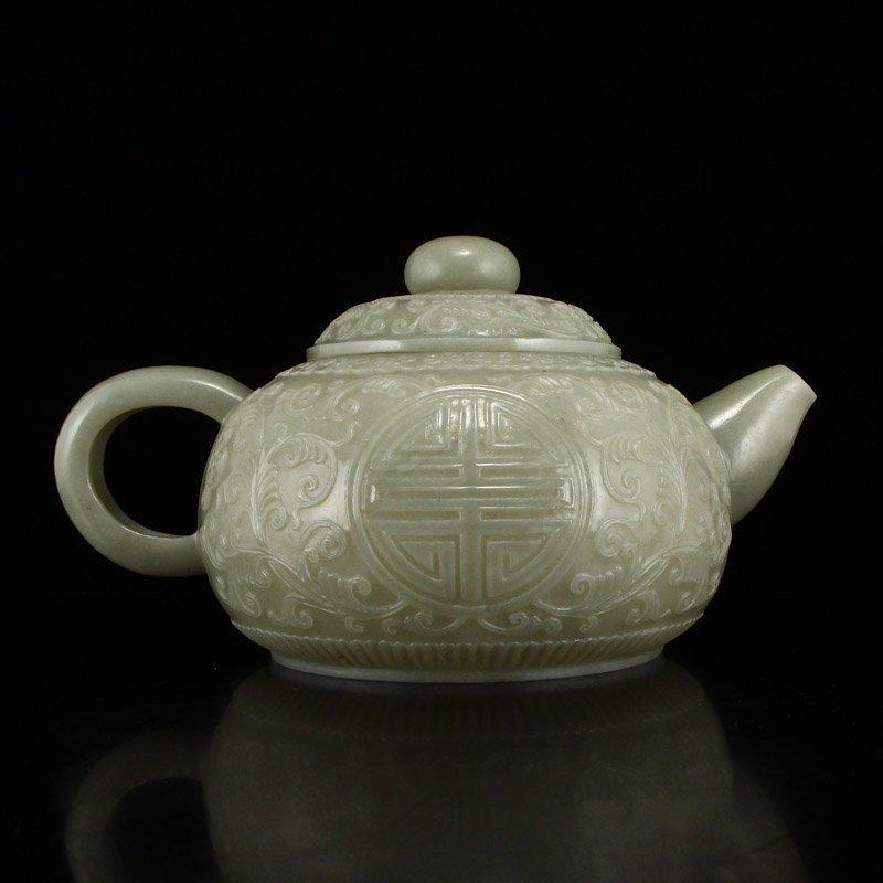 Set Superb Chinese Hetian Jade Low Relief Teapot & Cups - 5