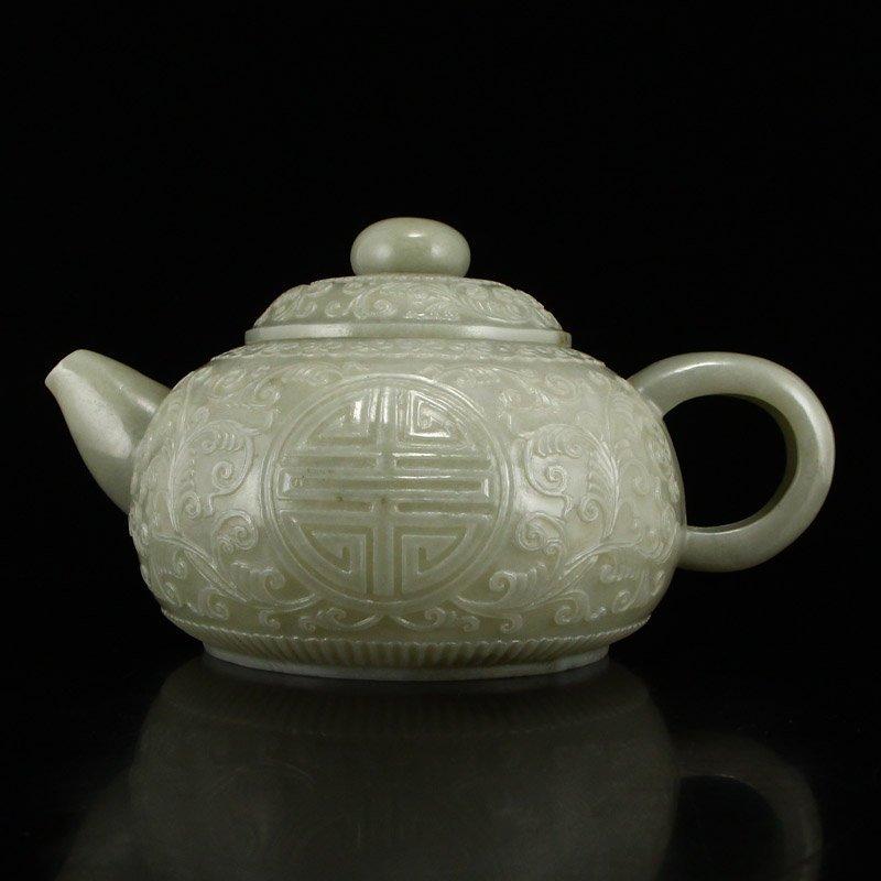 Set Superb Chinese Hetian Jade Low Relief Teapot & Cups - 6