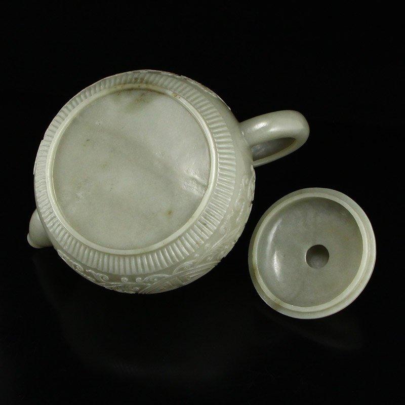 Set Superb Chinese Hetian Jade Low Relief Teapot & Cups - 8