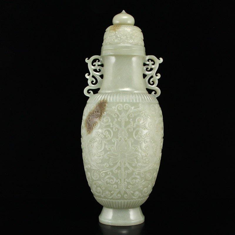 Superb Qing Dy Hetian Jade Double Ears Low Relief Vase