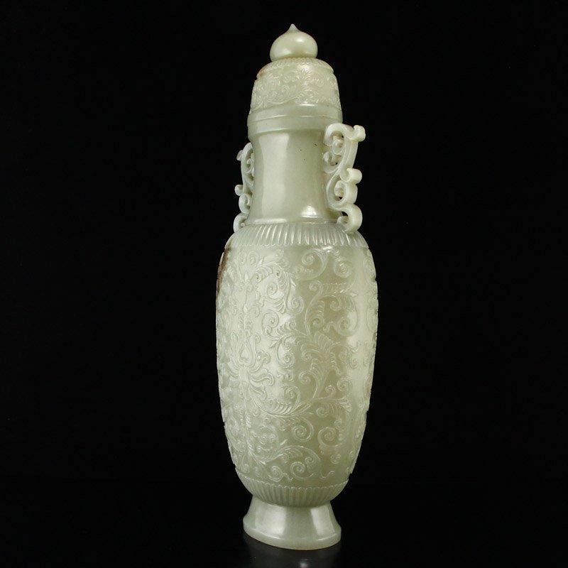 Superb Qing Dy Hetian Jade Double Ears Low Relief Vase - 3