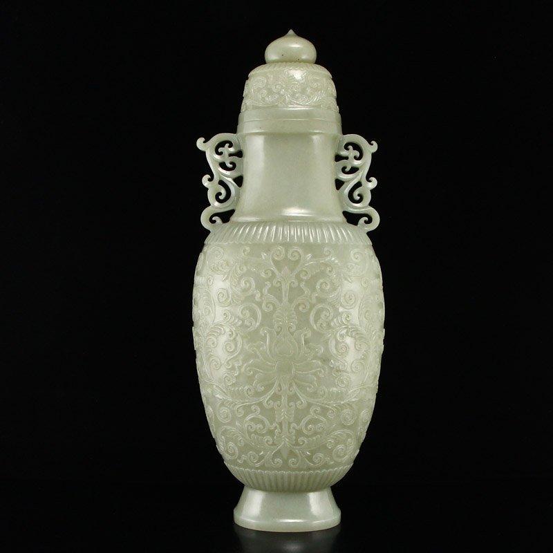 Superb Qing Dy Hetian Jade Double Ears Low Relief Vase - 5