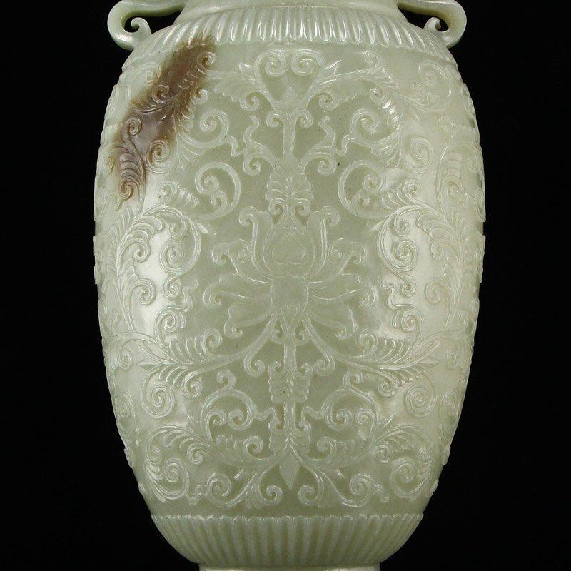 Superb Qing Dy Hetian Jade Double Ears Low Relief Vase - 7