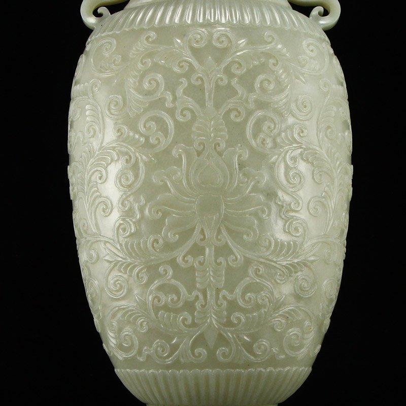 Superb Qing Dy Hetian Jade Double Ears Low Relief Vase - 8