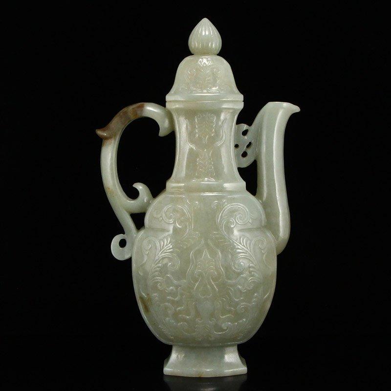 Chinese Qing Dy Hetian Jade Low Relief Wine Pot