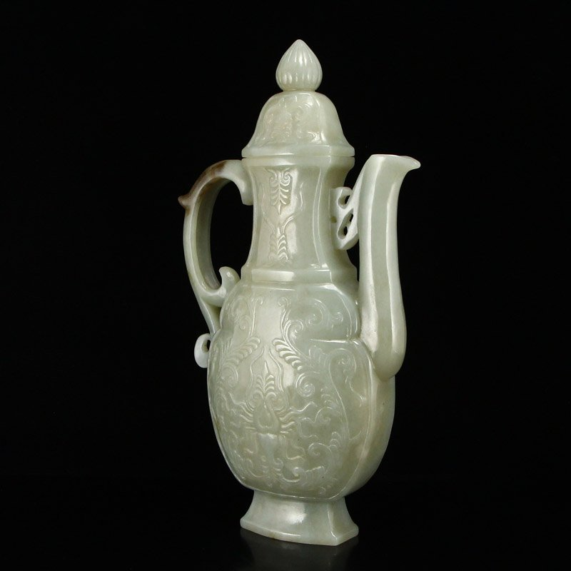 Chinese Qing Dy Hetian Jade Low Relief Wine Pot - 2