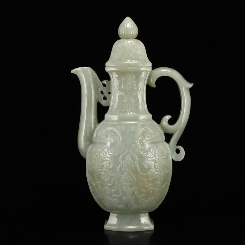 Chinese Qing Dy Hetian Jade Low Relief Wine Pot - 4