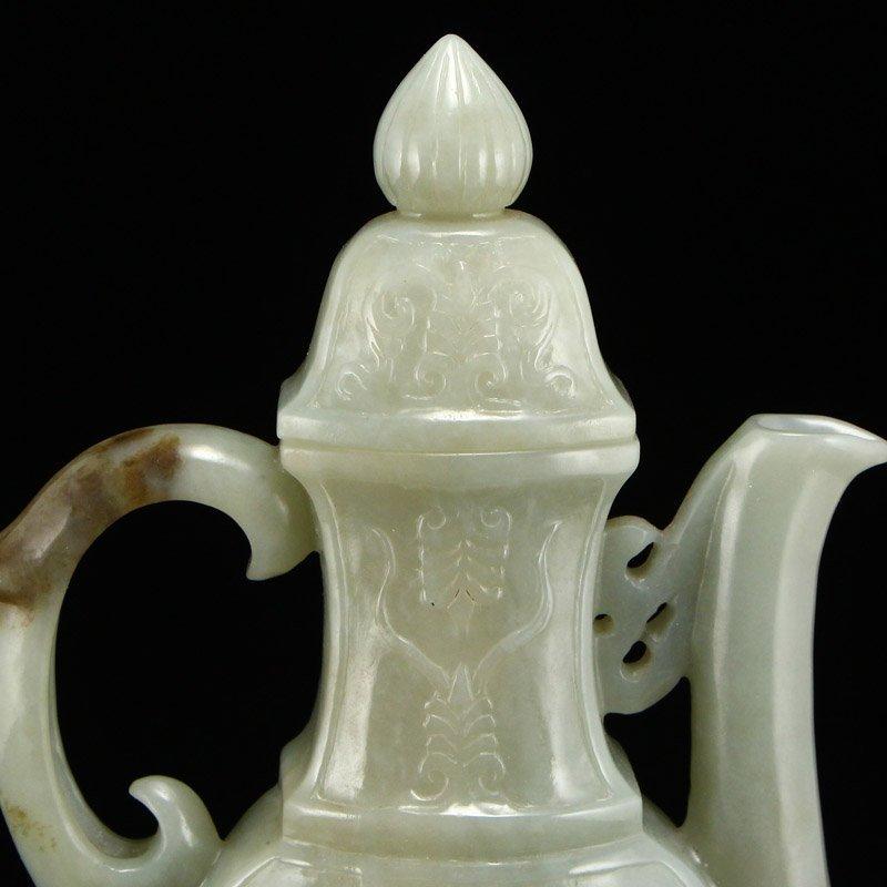 Chinese Qing Dy Hetian Jade Low Relief Wine Pot - 7