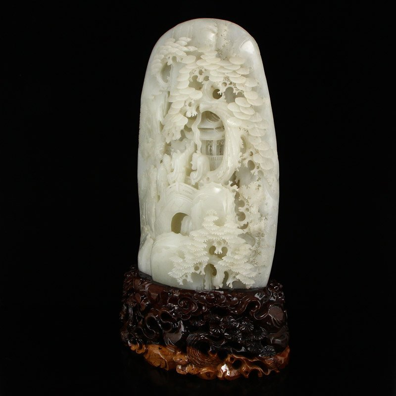 7Kg Superb Chinese Hetian Jade Statue - Sages Meeting - 2