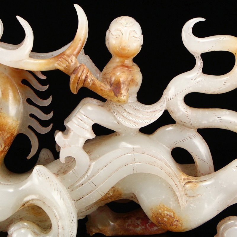 Superb Openwork Hetian Jade Dragon & Figure Statue - 6