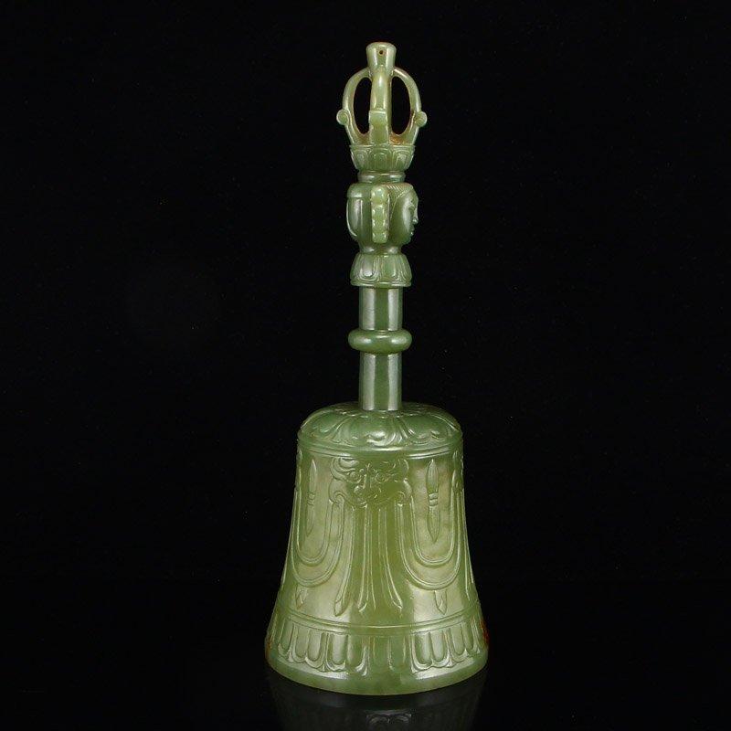 Chinese Qing Dy Hetian Jade Buddhism Prayer Bell - 4