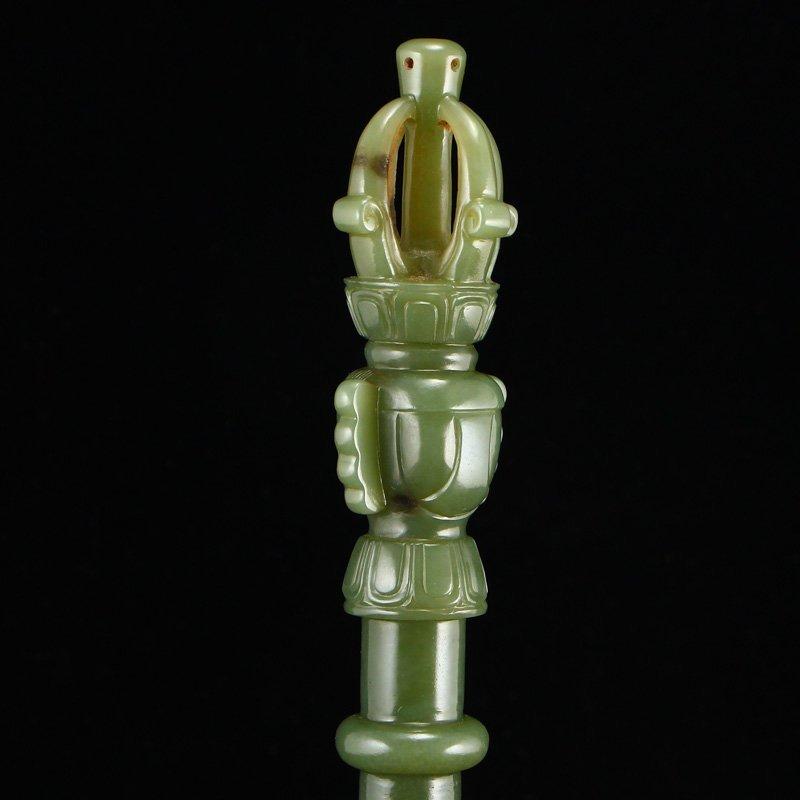 Chinese Qing Dy Hetian Jade Buddhism Prayer Bell - 9