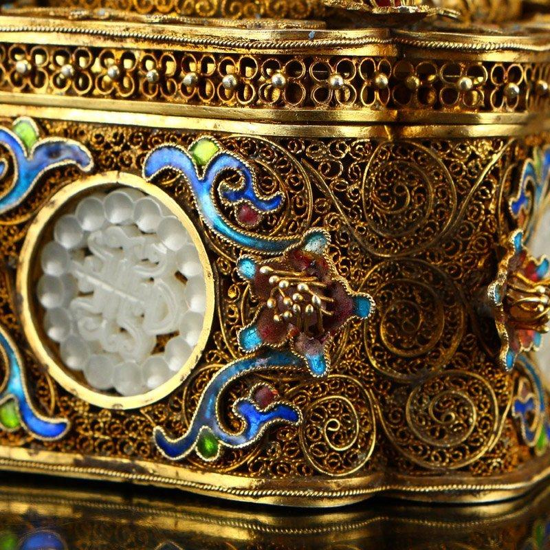 Gold Wire Enamel Inlay Natural Hetian Jade Jewelry Box - 8