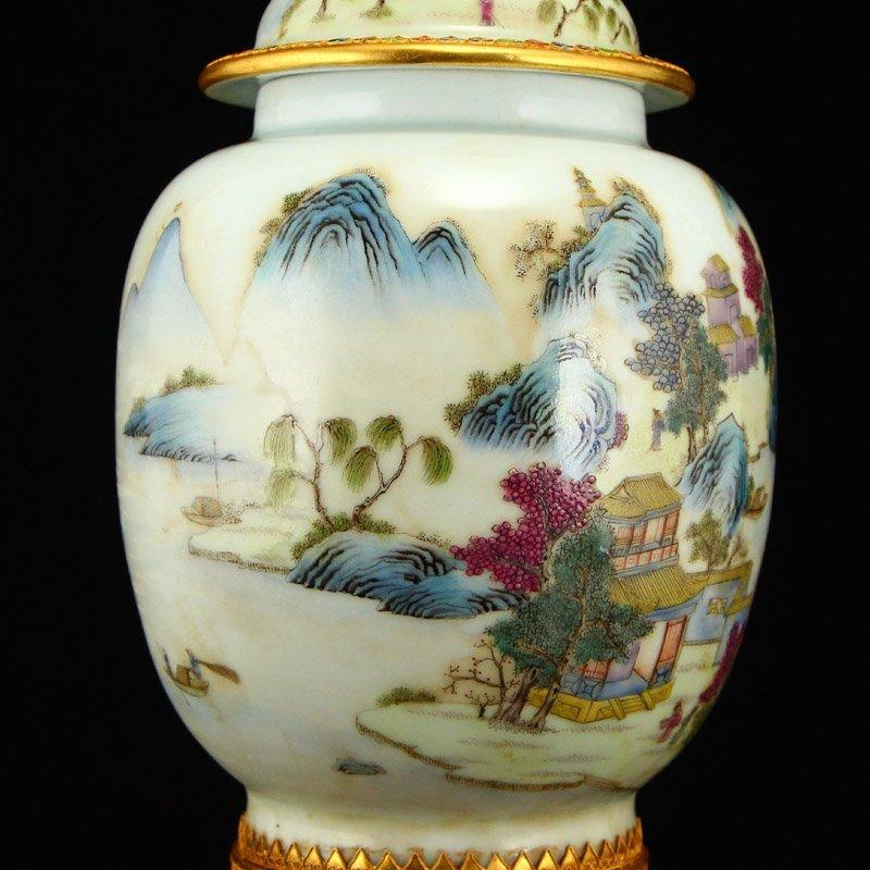 Beautiful Gilt Edge Famille Rose Porcelain Jar - 10