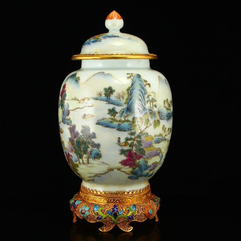 Beautiful Gilt Edge Famille Rose Porcelain Jar - 2