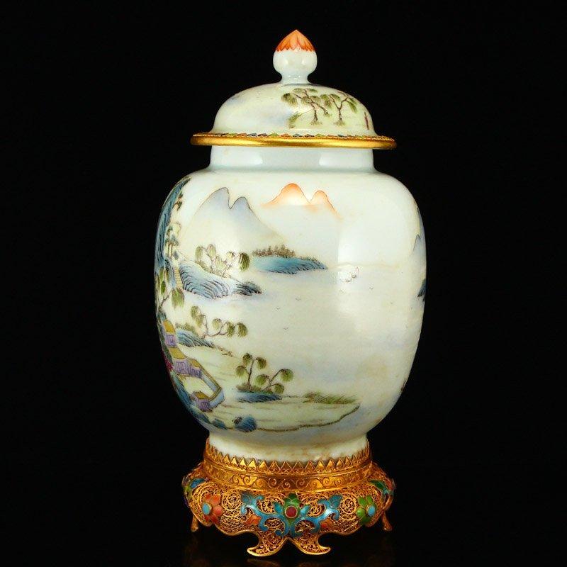 Beautiful Gilt Edge Famille Rose Porcelain Jar - 3
