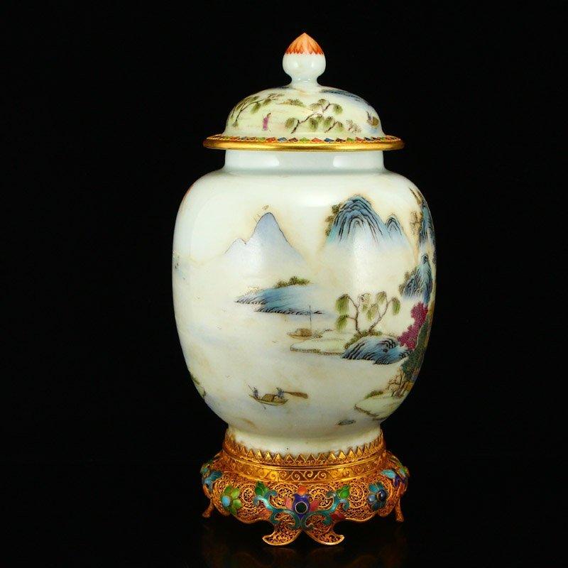 Beautiful Gilt Edge Famille Rose Porcelain Jar - 4
