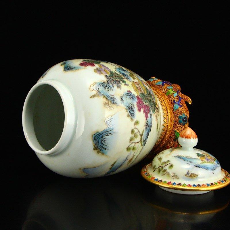 Beautiful Gilt Edge Famille Rose Porcelain Jar - 5