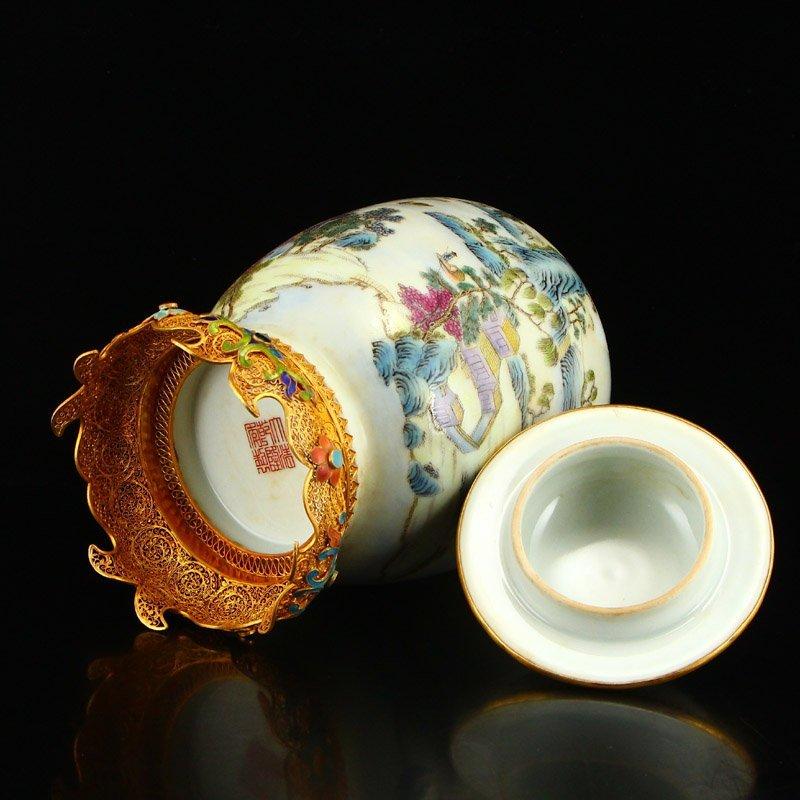 Beautiful Gilt Edge Famille Rose Porcelain Jar - 6