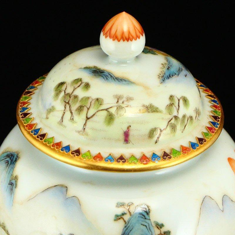Beautiful Gilt Edge Famille Rose Porcelain Jar - 7