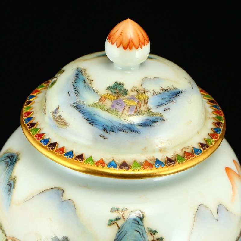 Beautiful Gilt Edge Famille Rose Porcelain Jar - 8