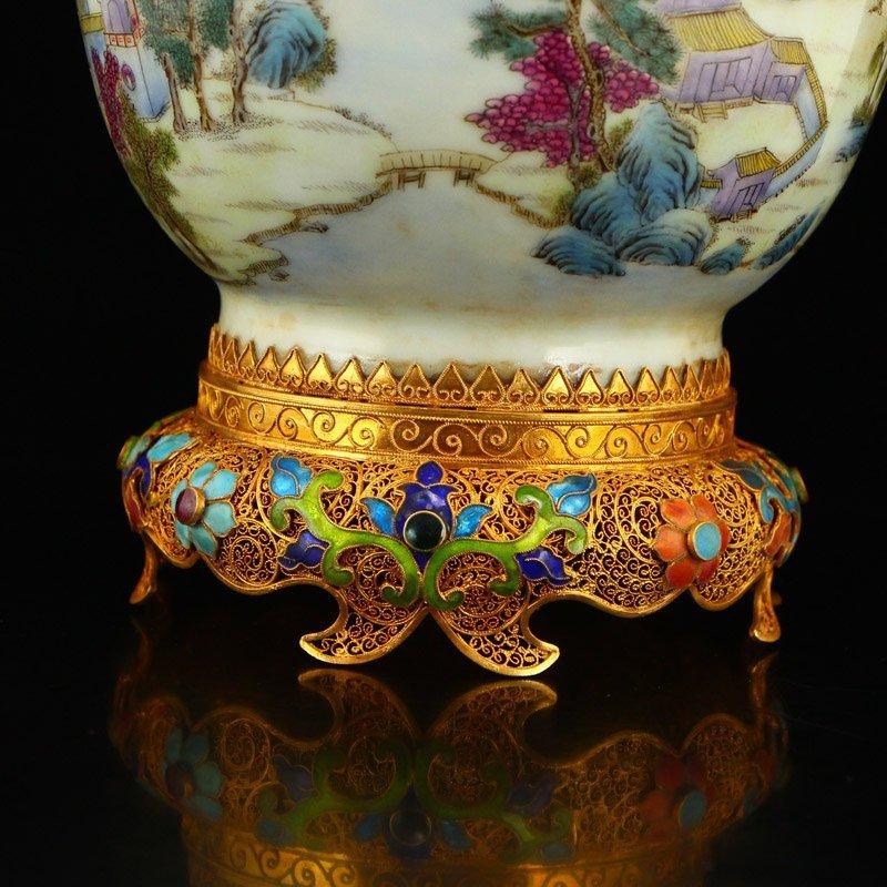 Beautiful Gilt Edge Famille Rose Porcelain Jar - 9