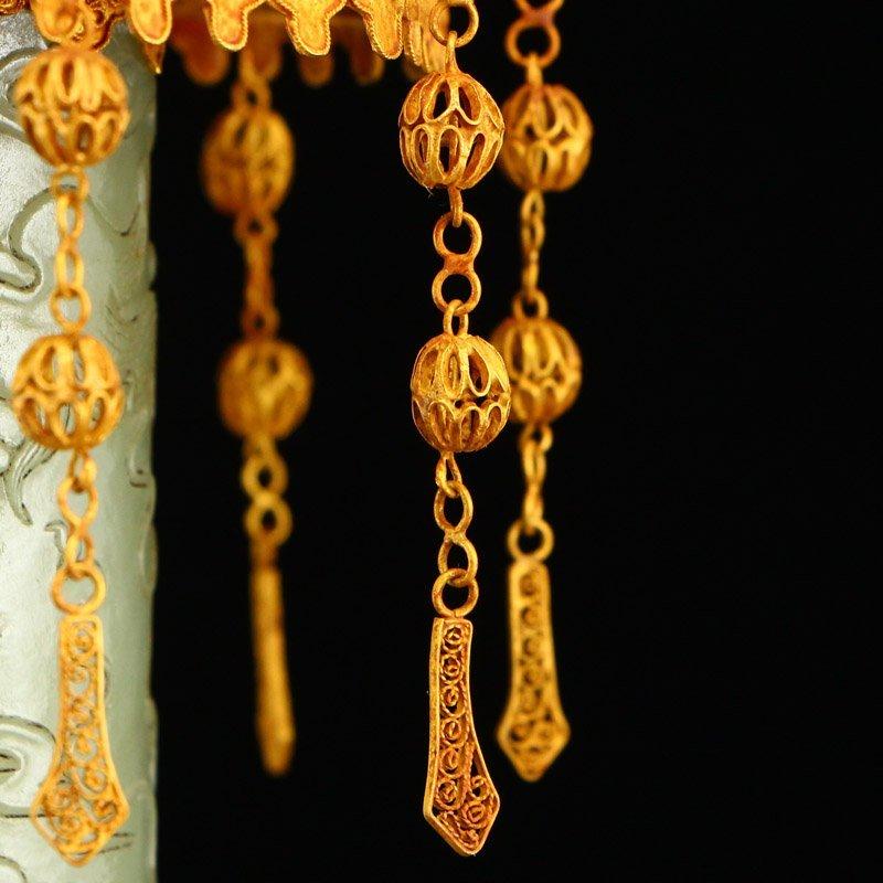 Hetian Jade & Gold Wire Enamel Inlay Gems Incense Tube - 4