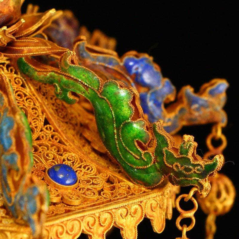 Hetian Jade & Gold Wire Enamel Inlay Gems Incense Tube - 5