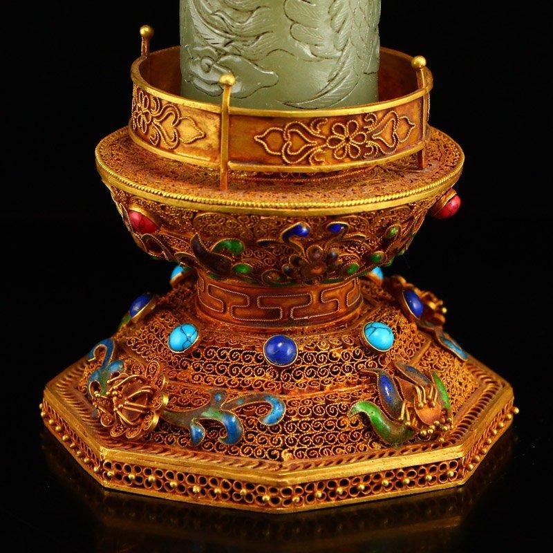 Hetian Jade & Gold Wire Enamel Inlay Gems Incense Tube - 6