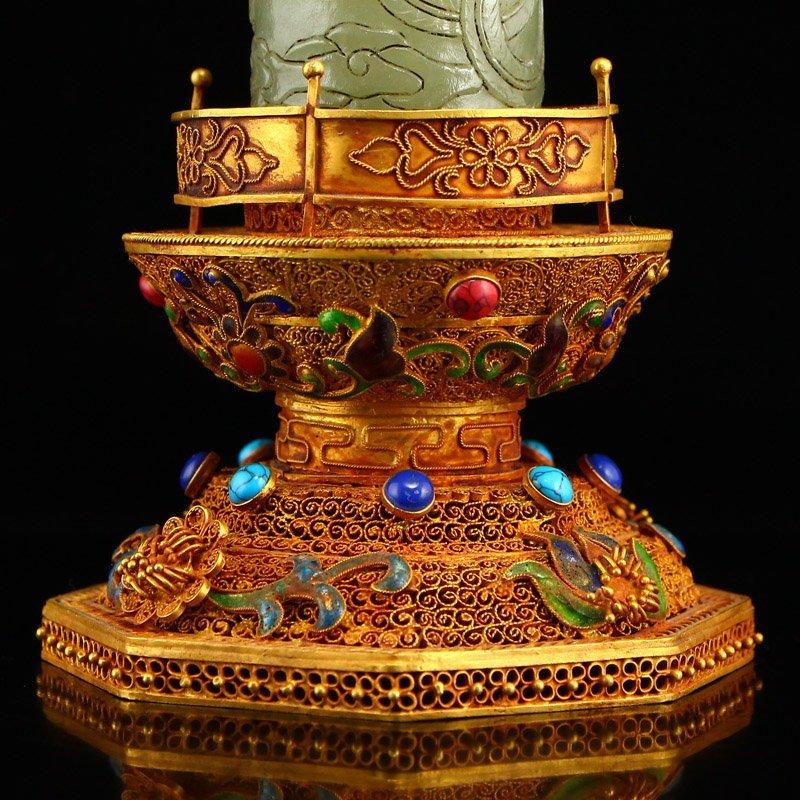 Hetian Jade & Gold Wire Enamel Inlay Gems Incense Tube - 7