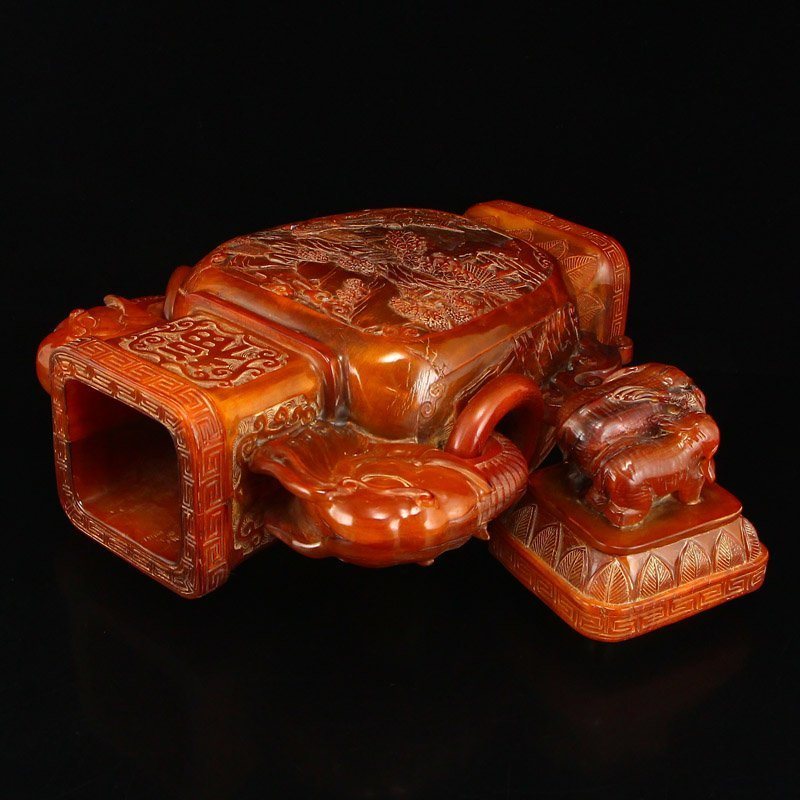 Superb Chinese Ox Horn Elephant Heads Double Ears Pot - 9