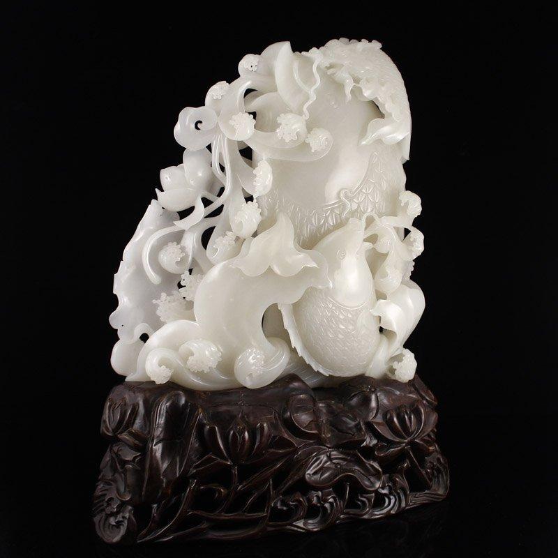 Superb Chinese Hetian Jade Statue - Fortune Fish - 2
