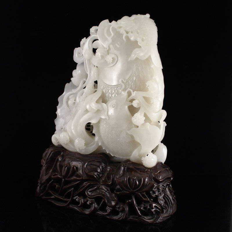 Superb Chinese Hetian Jade Statue - Fortune Fish - 4