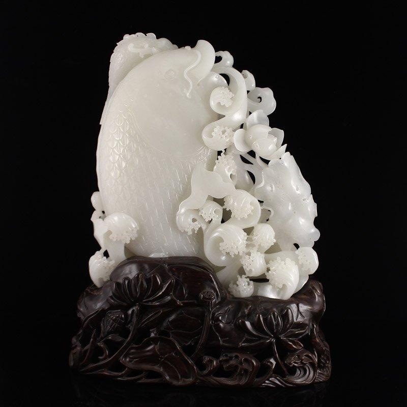 Superb Chinese Hetian Jade Statue - Fortune Fish - 5