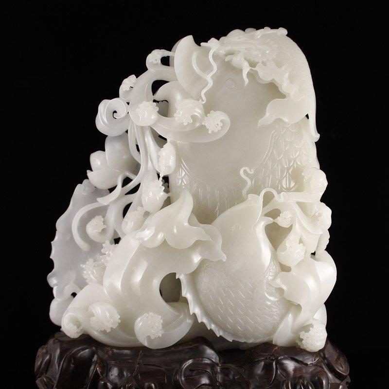 Superb Chinese Hetian Jade Statue - Fortune Fish - 6