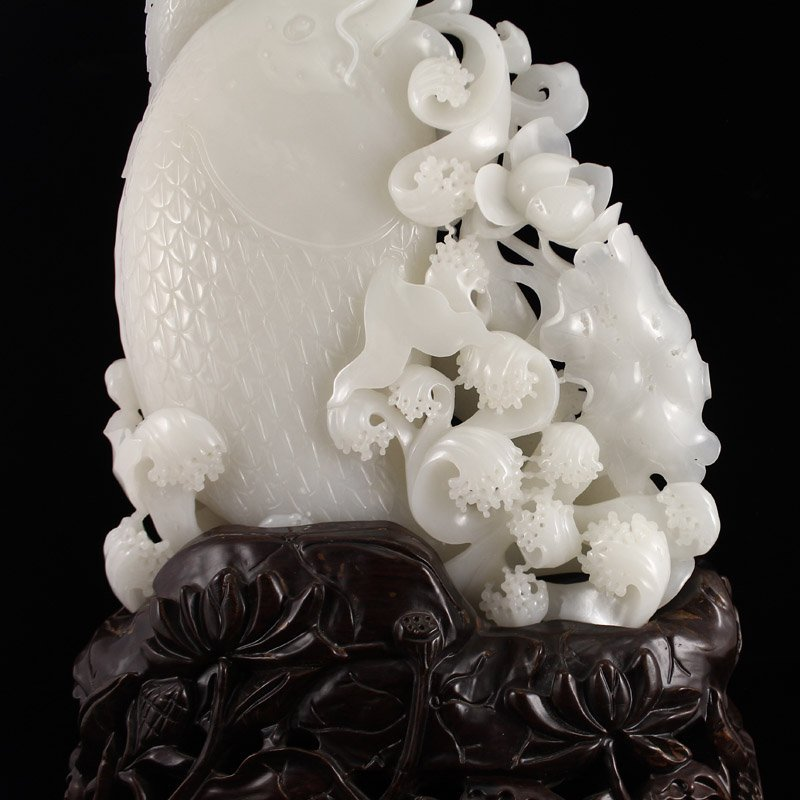 Superb Chinese Hetian Jade Statue - Fortune Fish - 8