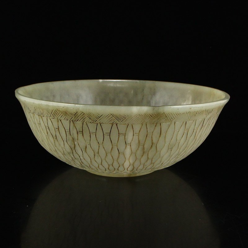 Beautiful Chinese Qing Dy Hetian Jade Low Relief Bowl - 2