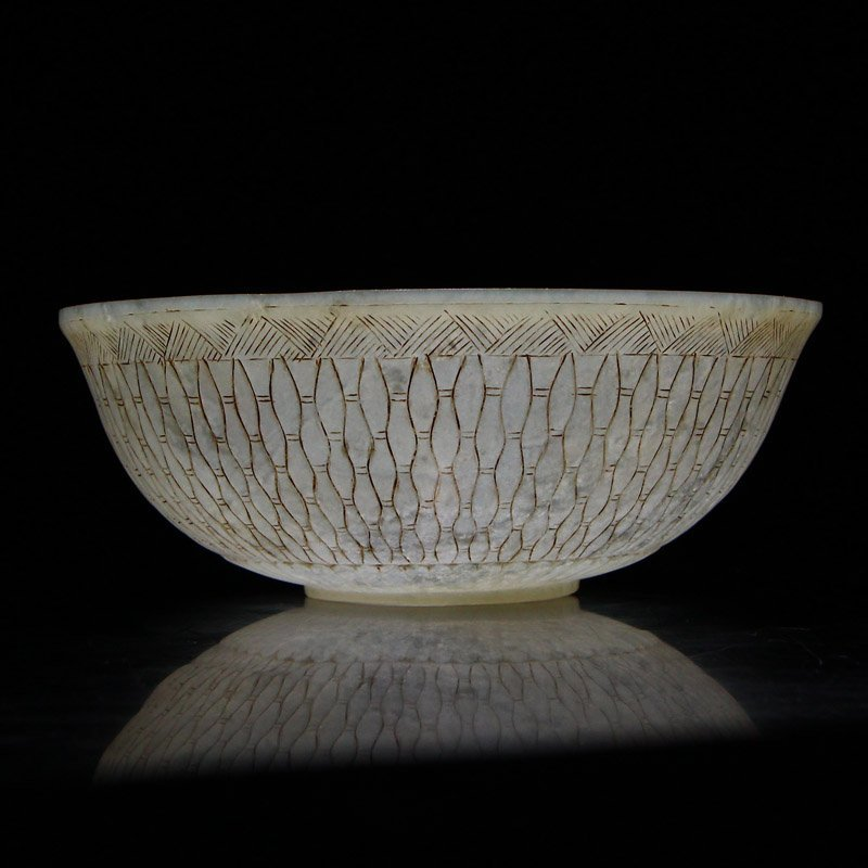 Beautiful Chinese Qing Dy Hetian Jade Low Relief Bowl - 9