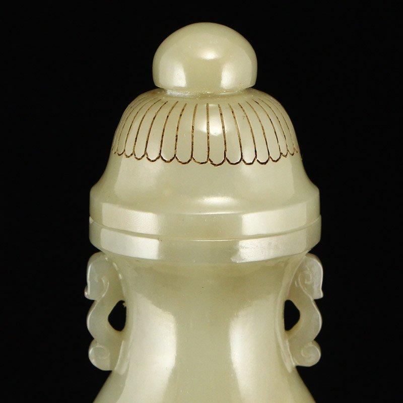 Superb Chinese Qing Dy Hetian Jade Poetic Prose Vase - 7