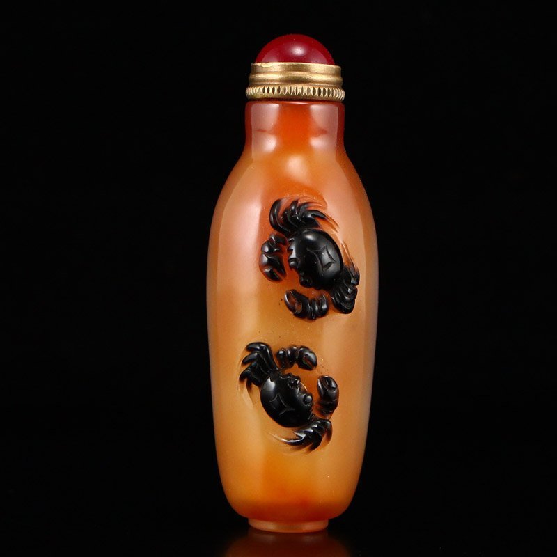 Chinese Natural Agate Snuff Bottle w Crabs