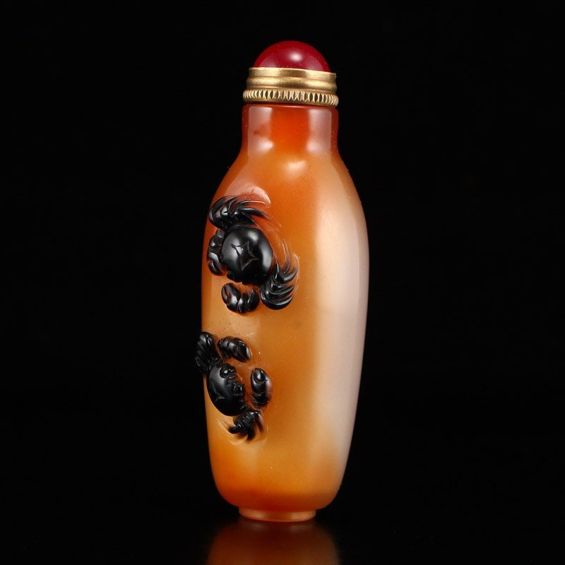 Chinese Natural Agate Snuff Bottle w Crabs - 3
