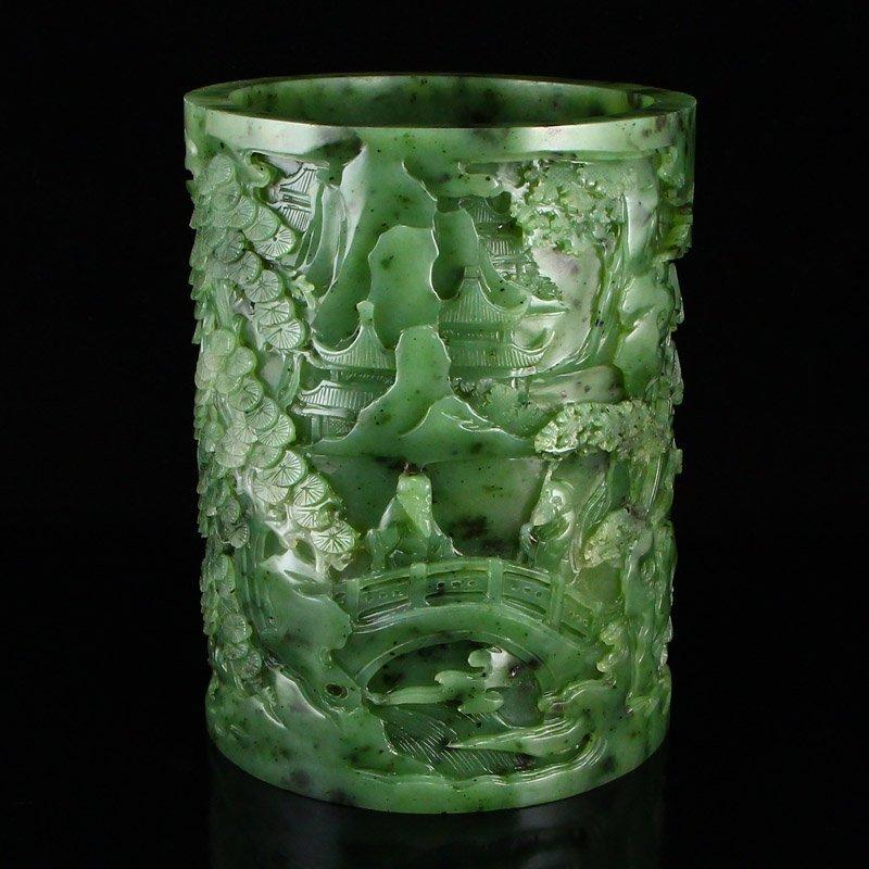 Superb Qing Dy Green Hetian Jade Low Relief Brush Pot