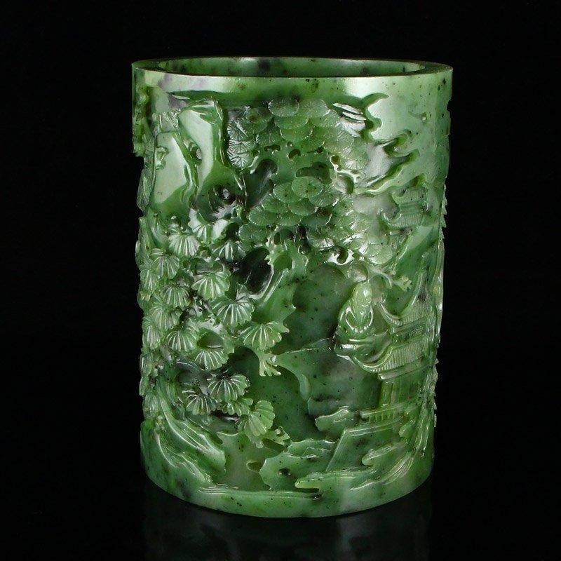 Superb Qing Dy Green Hetian Jade Low Relief Brush Pot - 3