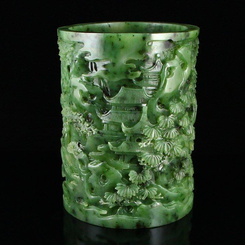 Superb Qing Dy Green Hetian Jade Low Relief Brush Pot - 4
