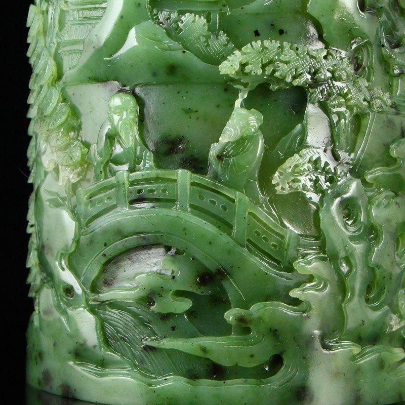 Superb Qing Dy Green Hetian Jade Low Relief Brush Pot - 7