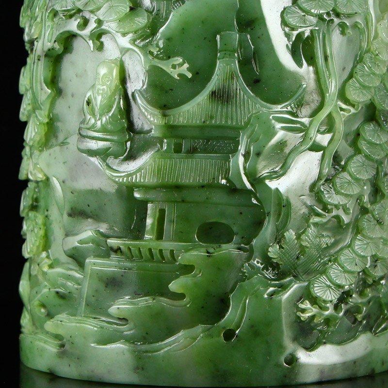 Superb Qing Dy Green Hetian Jade Low Relief Brush Pot - 8