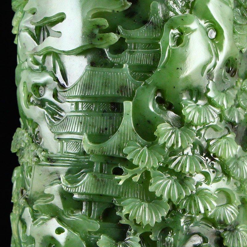 Superb Qing Dy Green Hetian Jade Low Relief Brush Pot - 9