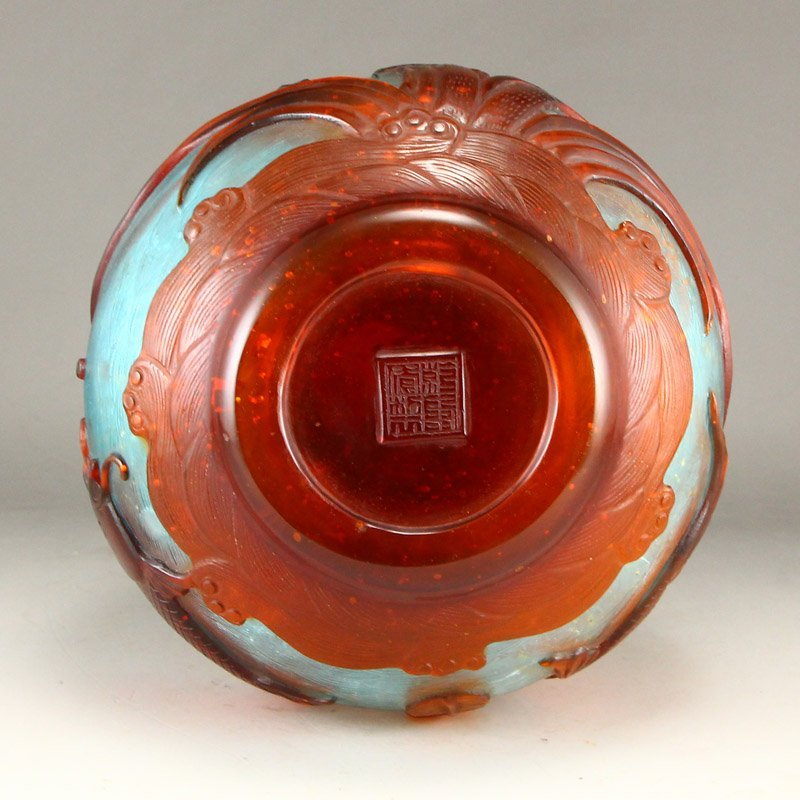 Chinese Qing Dy Peking Glass Low Relief Vase - 8